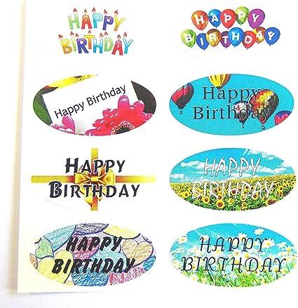 Mini Pack de pegatinas, 16 Happy Cumpleaños OVALADO SELLO etiquetas, PARA REGALO DE ENVOLVER, Tarjetas: Amazon.es: Oficina y papelería