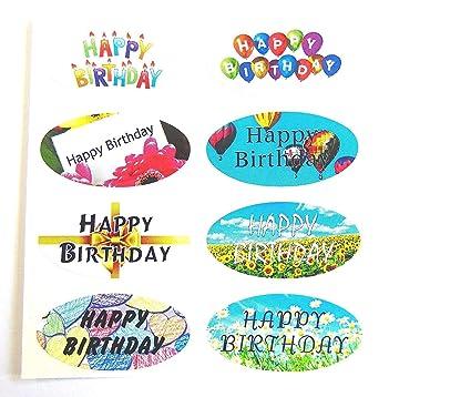 Mini Pack de pegatinas, 16 Happy Cumpleaños OVALADO SELLO ...
