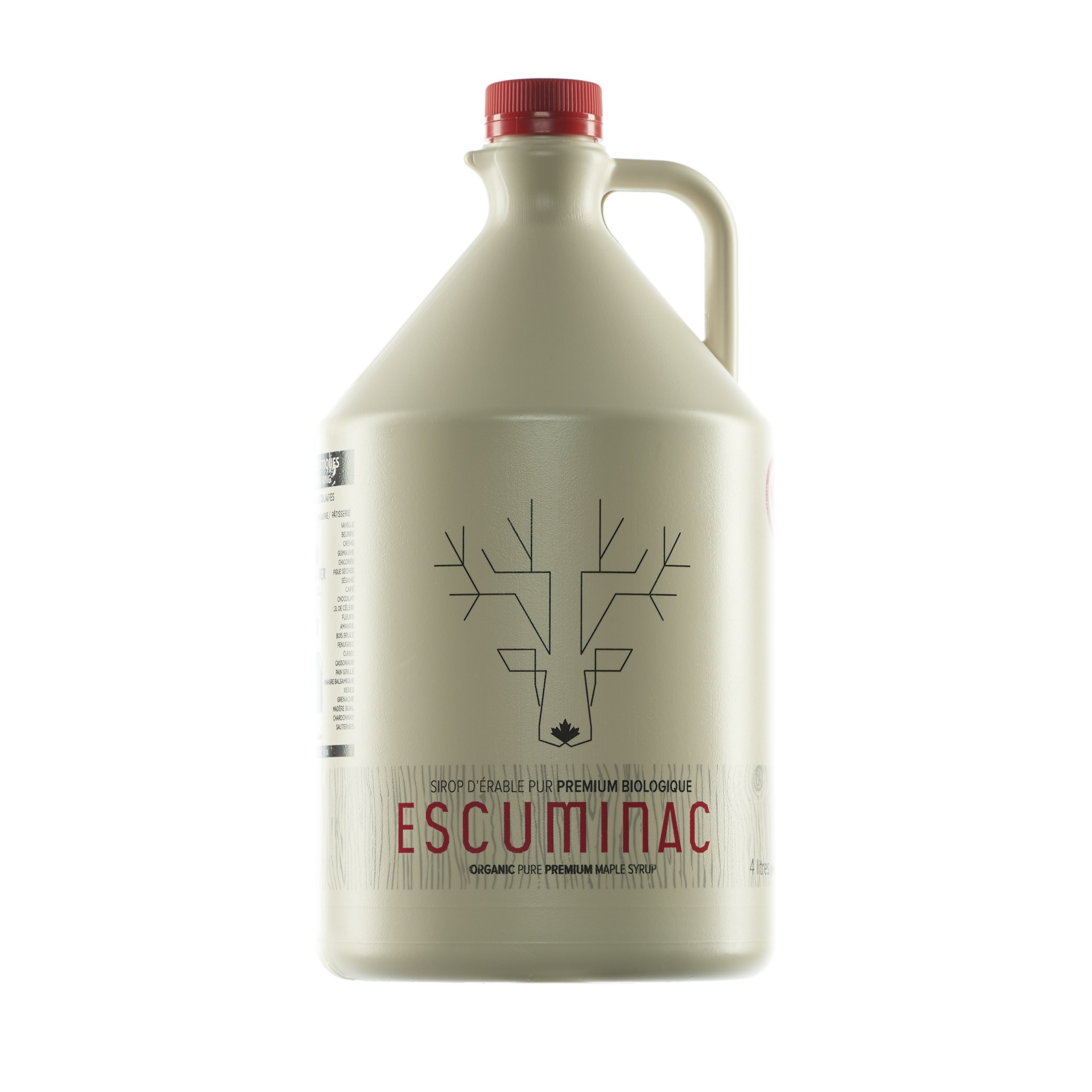 Award Winning Escuminac Unblended Maple Syrup Canadian Grade A - Rich And Refined Amber - Pure Organic Single Forest - Great Harvest 135 fl oz (4l) - Format For Restaurants And Food Institutions
