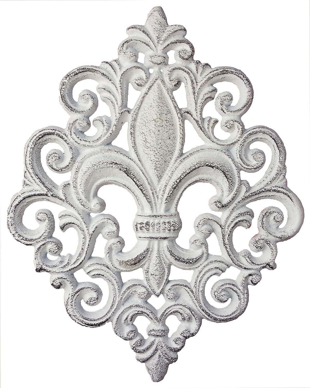 Lulu Decor, Cast Iron Fleur De Lis Decoration Plaque (White Plaque)