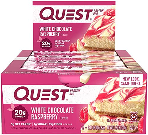 Quest Nutrition Quest PrePost Workout Bars – White Chocolate Raspberry 12 Bars