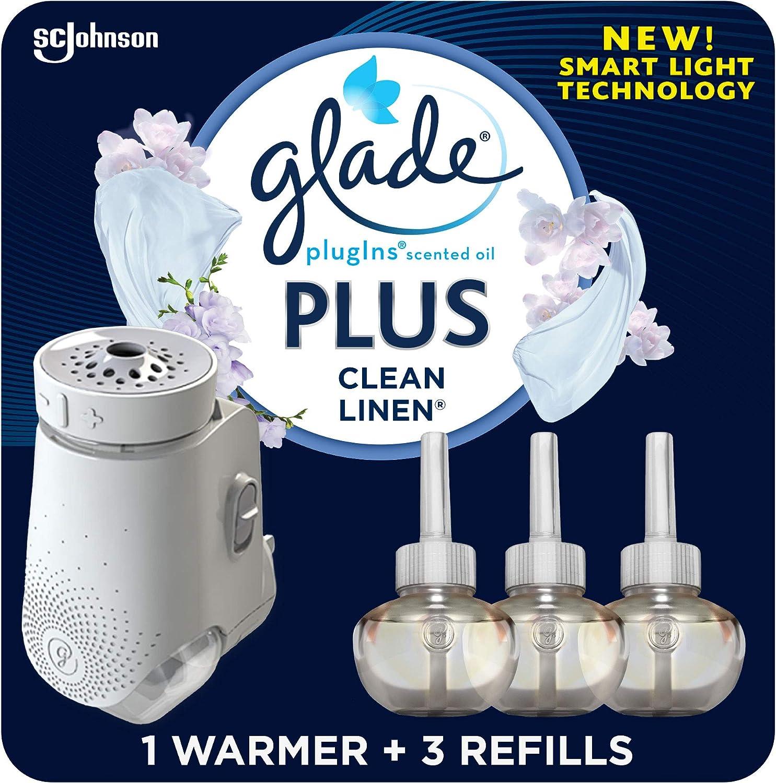 Glade PlugIn Plus Air Freshener Starter Kit, Scented Oil for Home and Bathroom, Clean Linen, 2.01 Fl Oz, 1 Warmer + 3 Refills