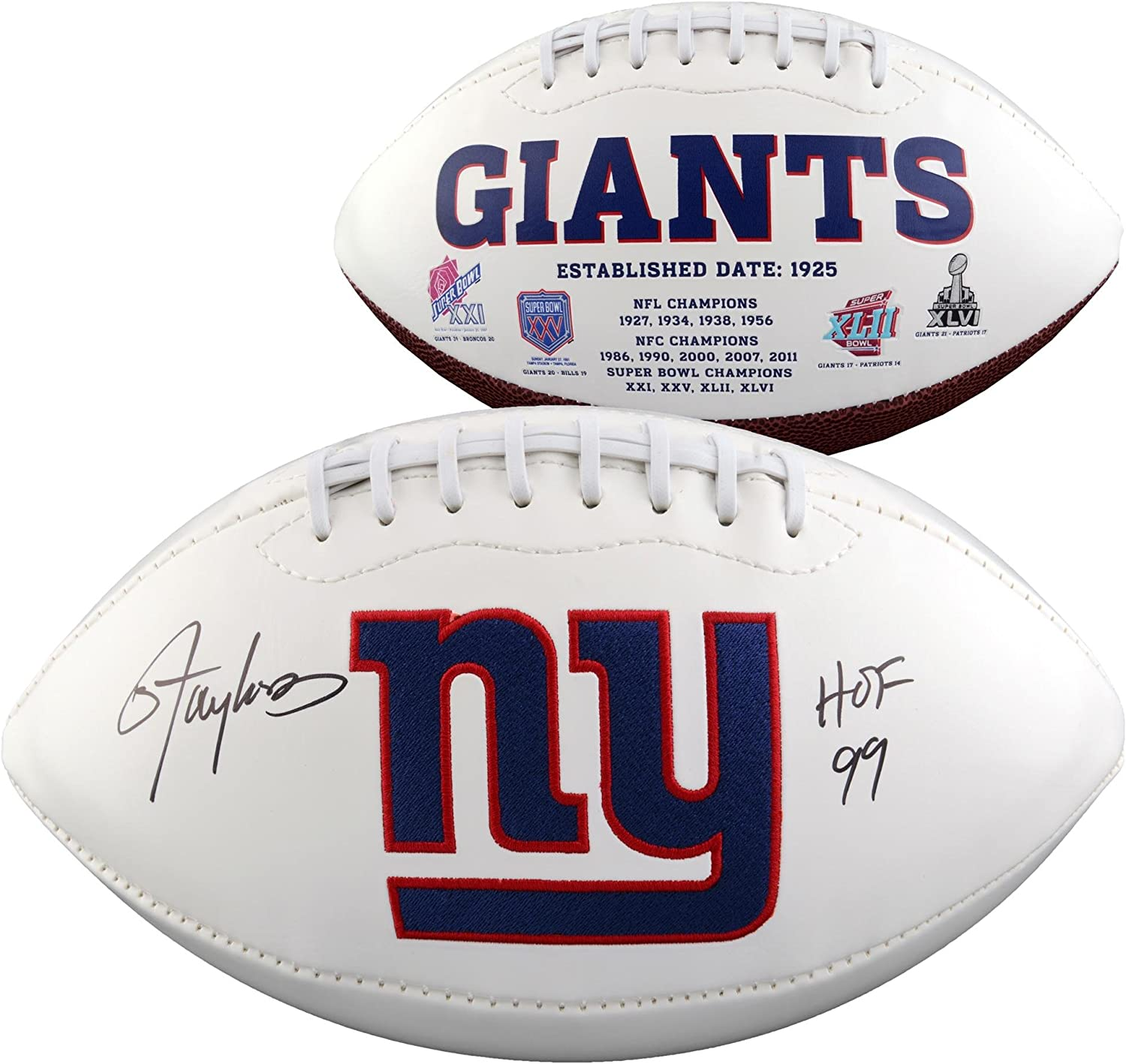 Autographed Footballs Lawrence Taylor New York Giants Autographed White Panel Football withHOF 99 Inscription
