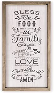Bless The Food Before Us and Family Beside Us Framed Wood Wall Sign 9x18 (Frame Included)