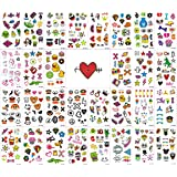 Foxjoy Temporary Tattoos for Kids, 200 Designs, 30 Sheets, 4.2X 2.5 inches (B)