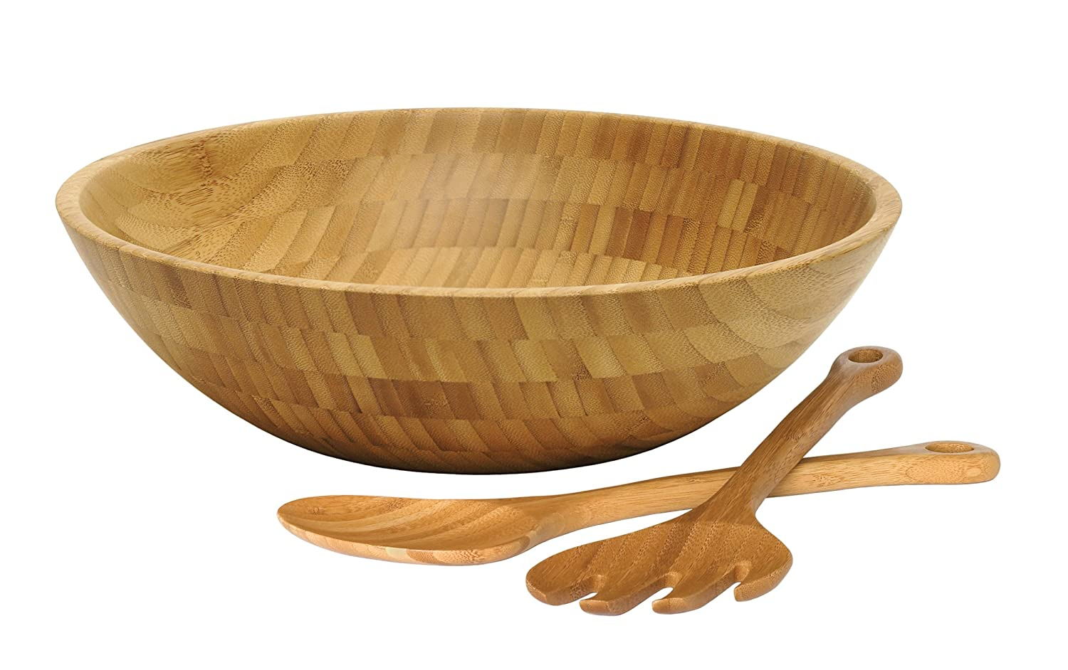 Lipper International 8204-3 Bamboo Wood Salad Bowl with 2 Server Utensils, Large, 14