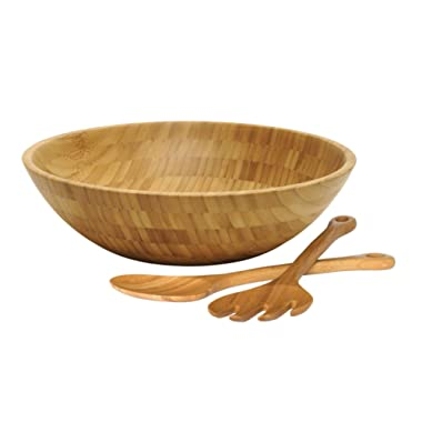 Lipper International 8204-3 Bamboo Wood Salad Bowl with 2 Server Utensils, Large, 14  Diameter x 4  Height, 3-Piece Set