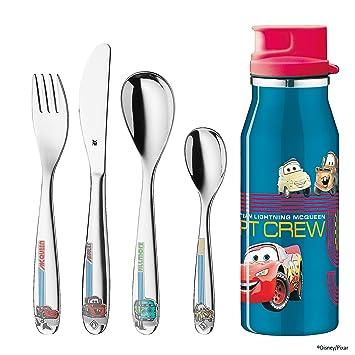 WMF Disney Cars - Cubertería para niños 4 piezas (tenedor, cuchillo de mesa, cuchara y cuchara pequeña) y botella (WMF Kids infantil): Amazon.es: Hogar