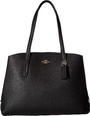 b46931b540 COACH Women's Polished Pebble Leather Charlie 40 Black/Gold One Size:  Handbags: Amazon.com