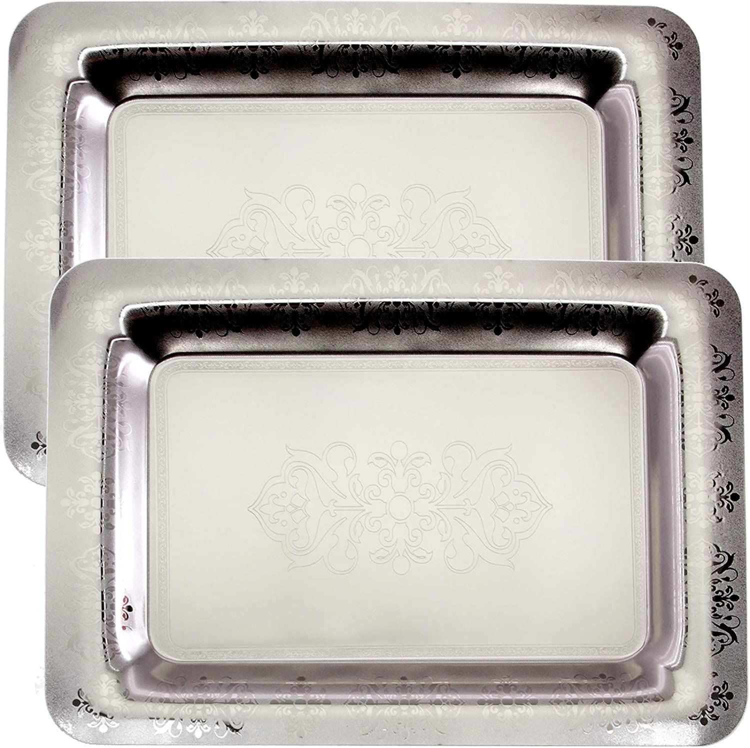 Maro Megastore (Pack of 2) 18.6 inch x 13 inch Oblong Chrome Plated Mirror Silver Serving Tray Stylish Design Floral Engraved Edge Decorative Party Birthday Wedding Buffet Wine Platter Plate TLA-341
