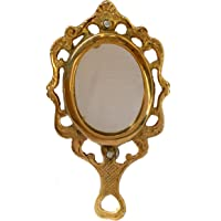 THE DIGITAL STORE Antique Brass Mirror Decorative Vintage Style Oval Vanity Make up Hand Held Small Mirror