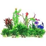 PietyPet Aquarium Wasserpflanzen Kunststoff Aquariumpflanze mit Harz Höhle Fisch Tank Ornament Dekoration
