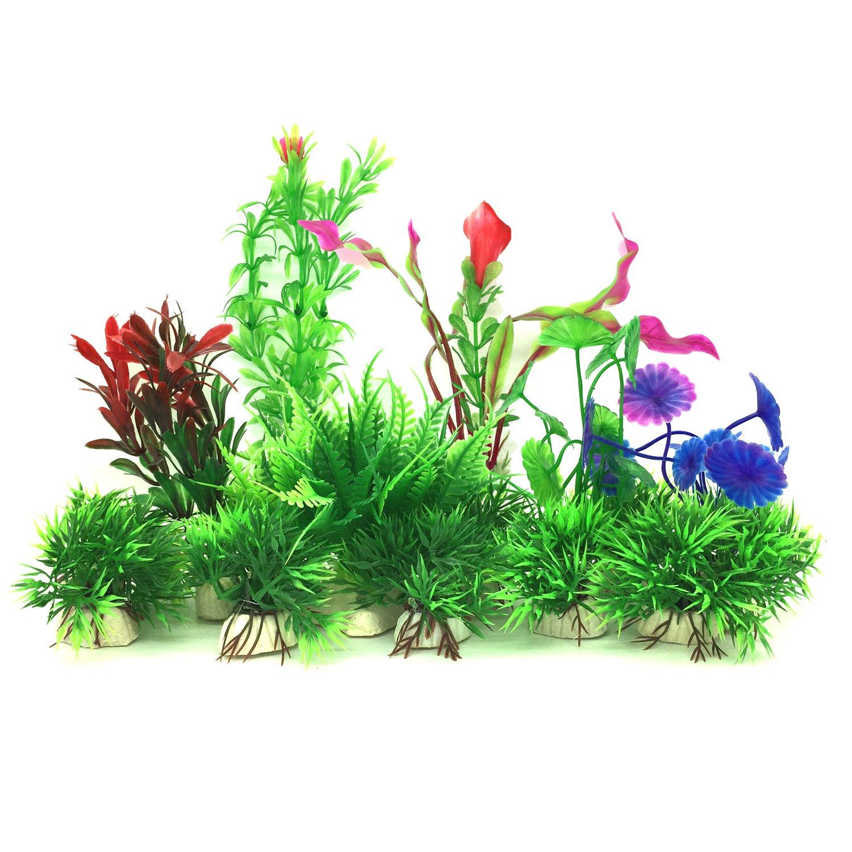 Artificial Aquatic Plants, PietyPet 16 Pcs Small Aquarium Plants Artificial Fish Tank Decorations, Vivid Simulation Plant Creature Aquarium Landscape
