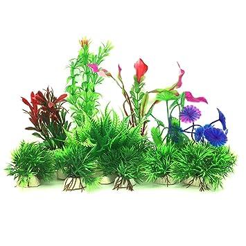 Plantas acuáticas artificiales, PietyPet 16 piezas Plantas Pequeño de acuario Decoraciones plásticas del tanque de peces, Planta de simulación viva Criatura ...