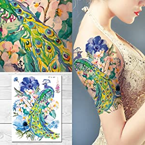 Supperb Temporary Tattoos - Watercolor Dream of peacock & Blue Flowers