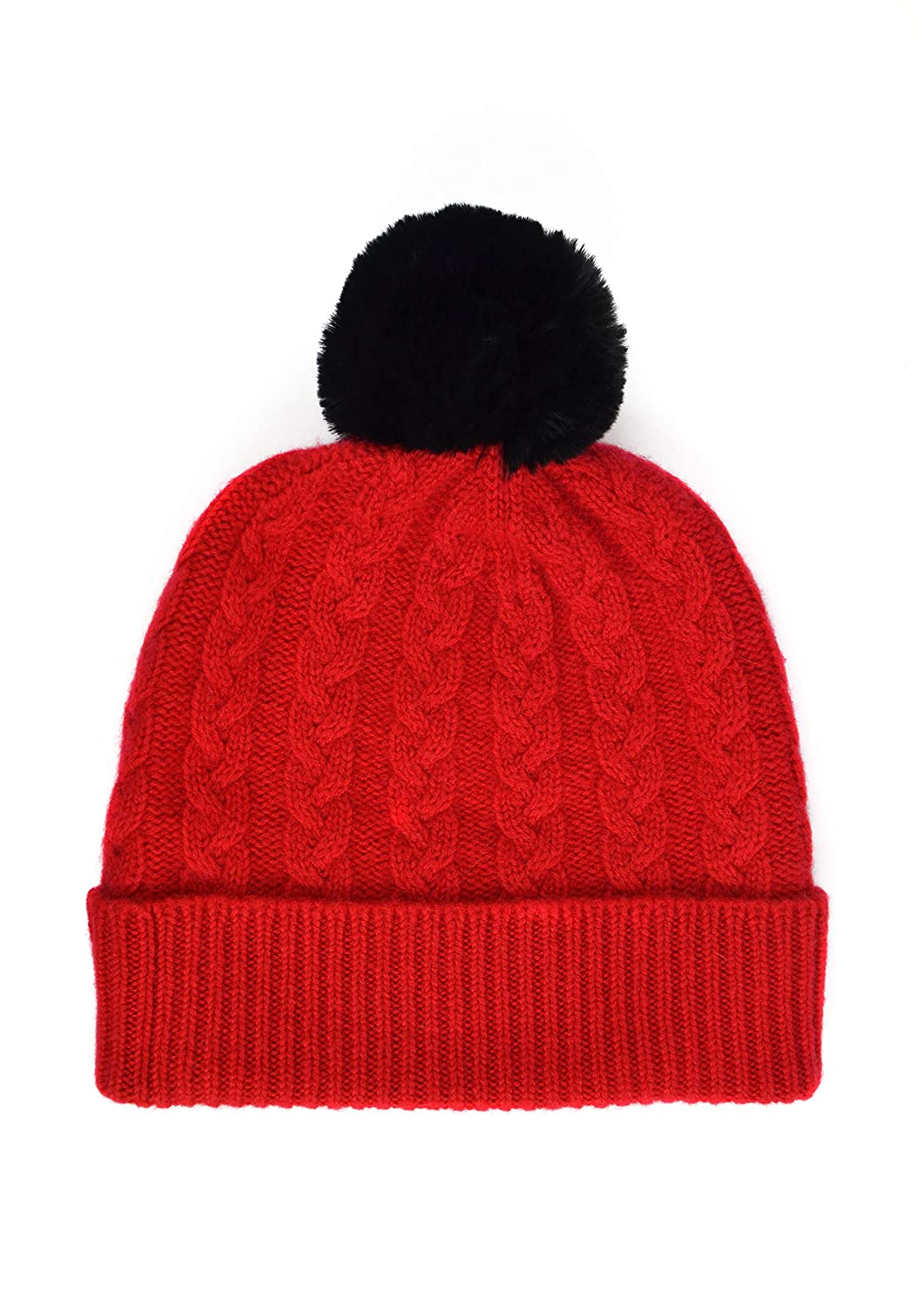 William Lockie Ladies Cashmere Cable Hat in Cardinal Red with Black Faux Fur Pom Pom Made in Scotland