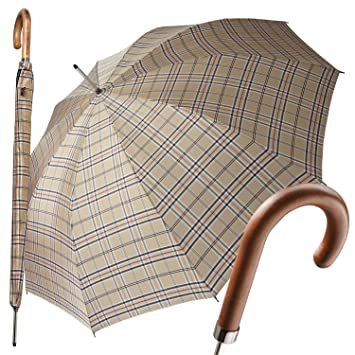 Paraguas bastón pantalla Knirps automático cuadros marrón: Amazon.es: Equipaje