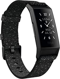 Fitbit Charge 4 Special Edition Fitness and Activity Tracker with Built-in GPS, Heart Rate, Sleep & Swim Tracking, Black/Granite Reflective, One Size (S &L Bands Included)