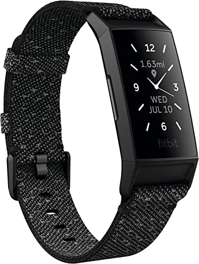 Fitbit Charge 4 Granite Reflective Woven Advanced Fitness Tracker