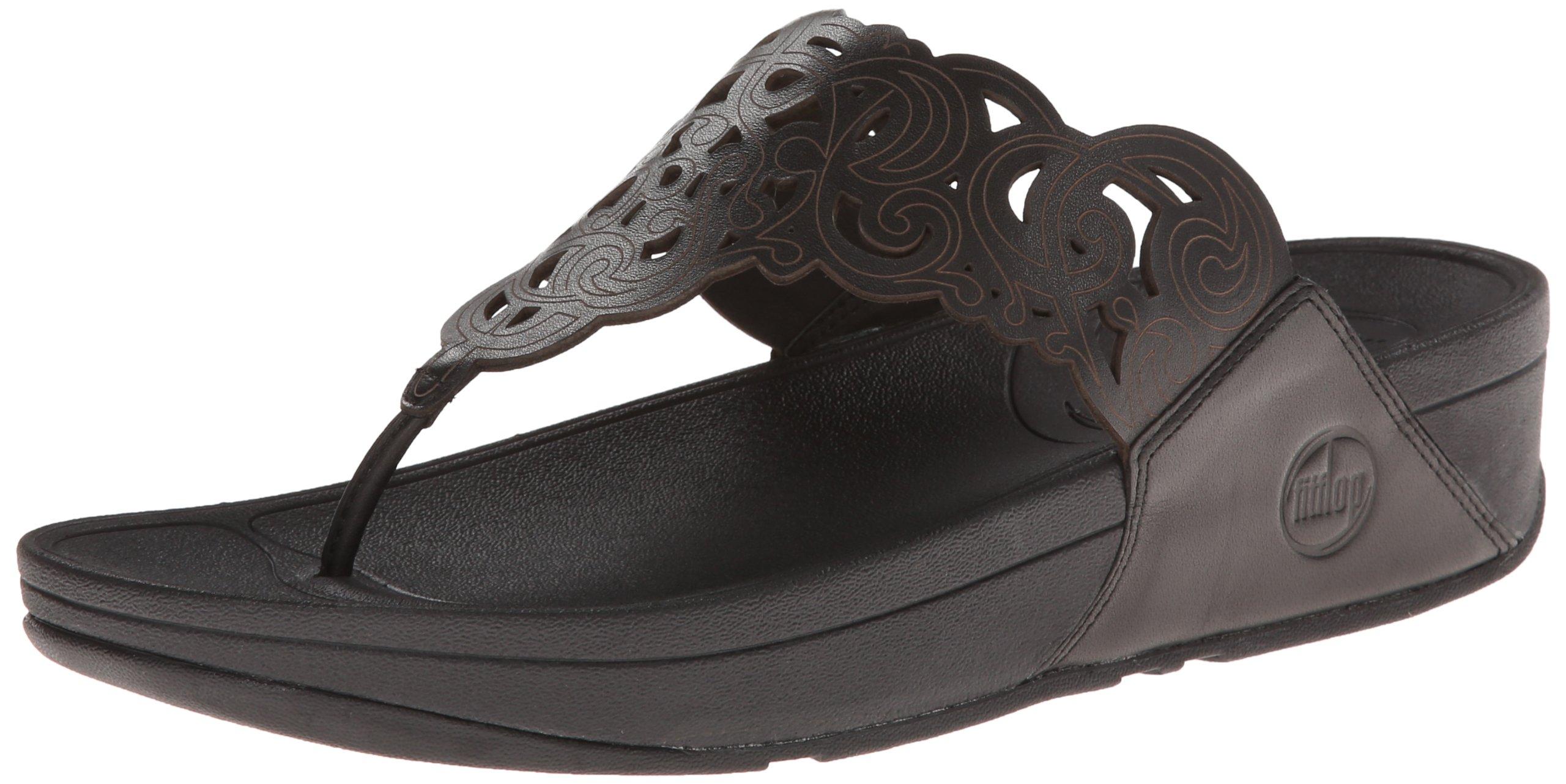 FitFlop Women's Flora Flip Flop,Black,8 M US