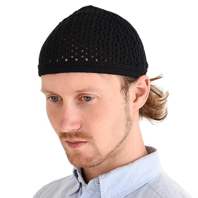 cde8afd52e78d3 Casualbox Knit Cotton Skull Cap Kufi Islam Prayer Hat Crochet Mesh Skully  Beanie Black