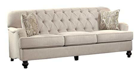 "Homelegance Clemencia 85"" Linen-Like Upholstered Sofa, White"
