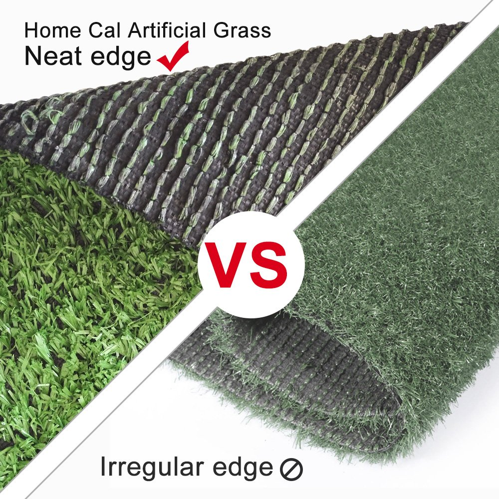 Home Cal Artificial Grass Rug Series Landscape Outdoor Decorative Synthetic Turf Pet Dog Area with Neat Edge 3cm 4'x7' Spring Grass