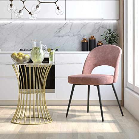 Amazon Com Cosmoliving By Cosmopolitan Cosmoliving Alexi Upholstered Dining Dark Blush Pink Velvet Chair Furniture Decor