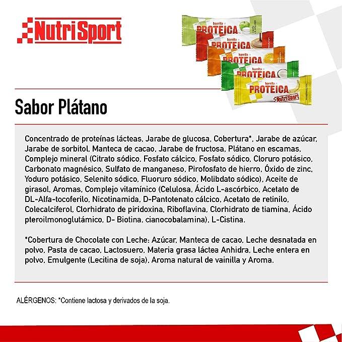 NUTRISPORT CLINICAL NUTRITION, SA – Barritas Proteicas para Deportistas, Sabor Plátano, Caja de 24 Barritas, 24x 46 gr
