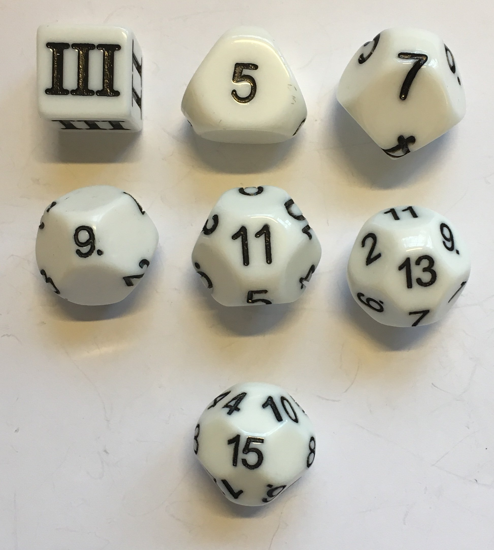 White - 7 Unusual Odd Numbered Dice Set - D3, D5, D7, D9, D11, D13 & D15