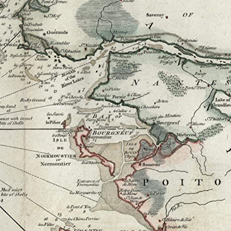 Map Of France Coast.Amazon Com France Coastal Chart Bell Isle 1793 Charming Decorative