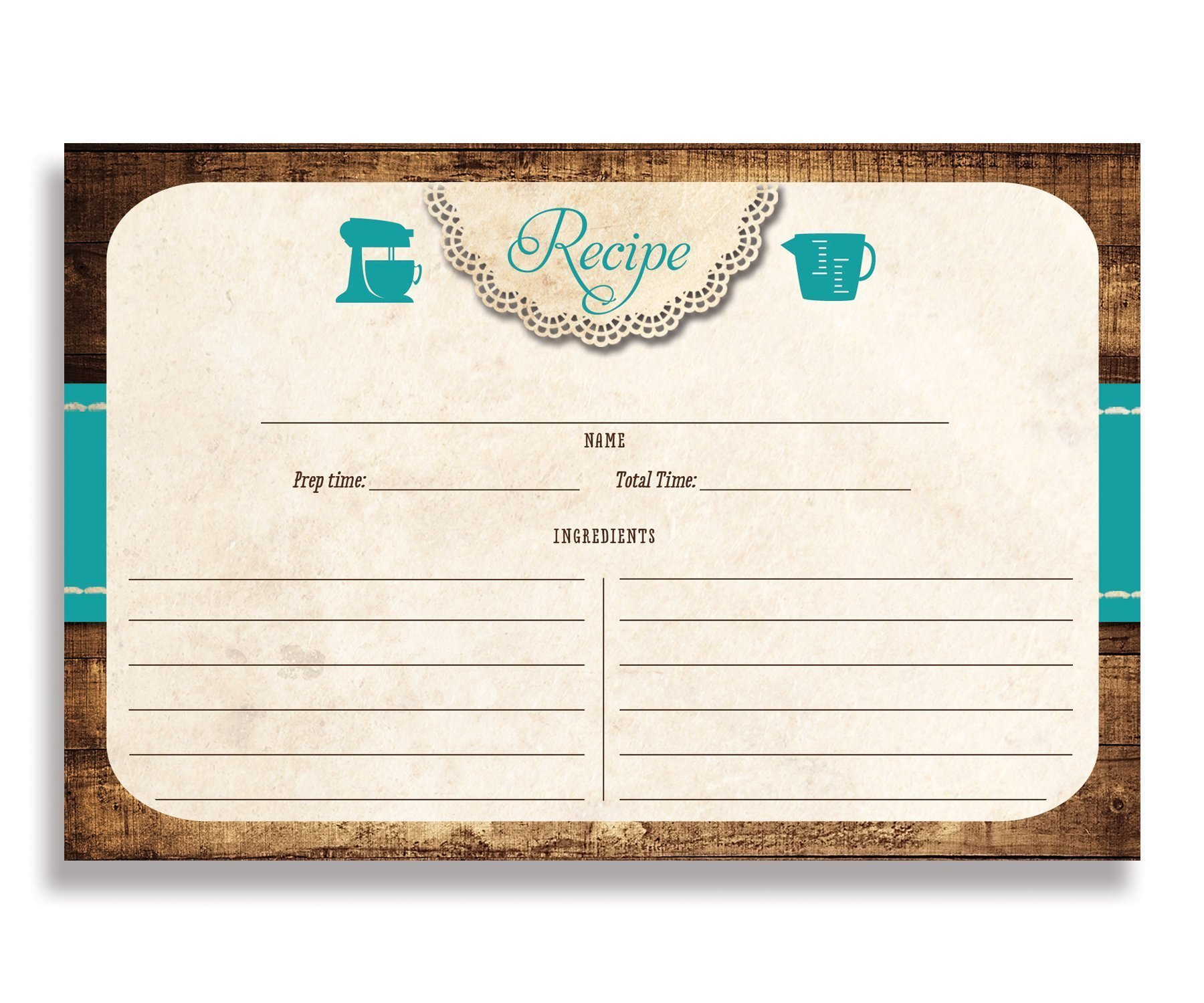Lace Rustic Recipe Cards (Set of 25) 4x6 inches. Double Sided Card Stock Recipe Card Set | Tracey Teal