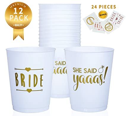 buzzingbee bridal shower complete bridal party decorations bachelorette party pack of 12 bride tribe cups