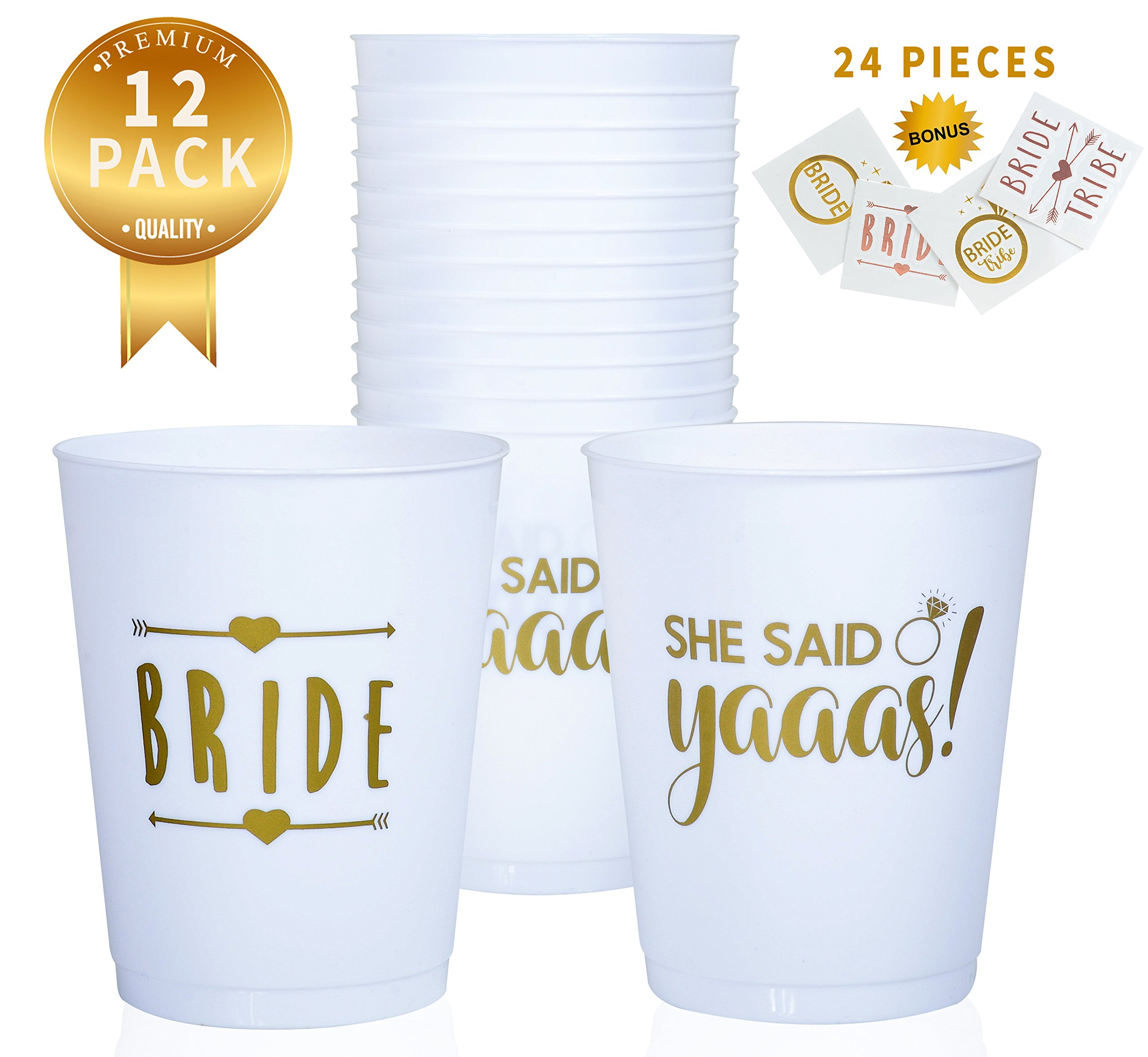Buzzingbee bachelorette cups and tattoos 36 pieces, bachelorette party decorations, bridal party decorations, bride tribe cups, bride tribe tattoos, she said yaaas, bride tattoo