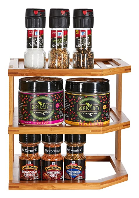 Home Intuition Kitchen Cabinet And Countertop 3 Tier Bamboo Corner Shelf
