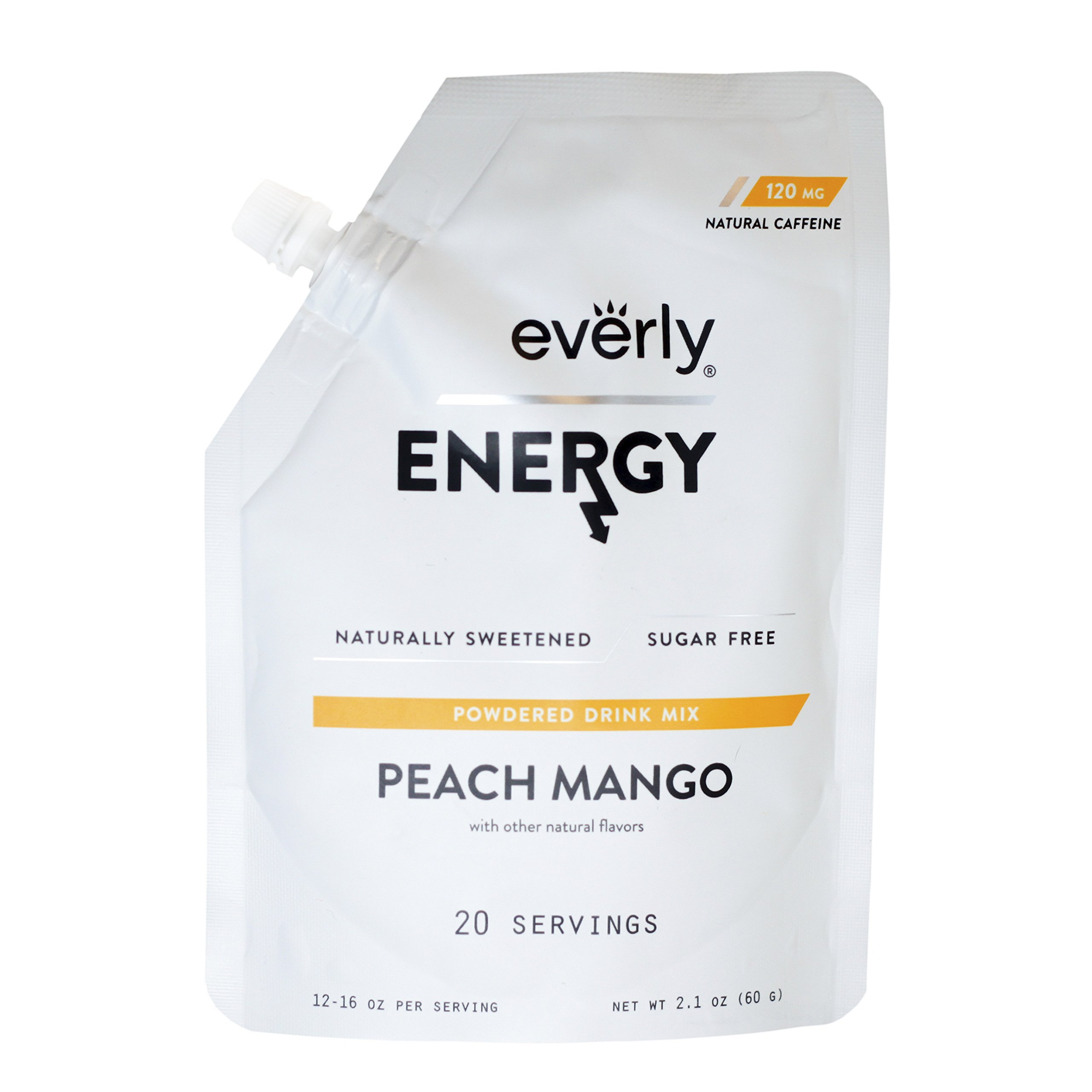 Everly Energy - Affordable, Sugar-free, Natural Energy Drink Mix Powder, Water Flavoring and Water Enhancer - Pouch, 20 Servings, Peach Mango