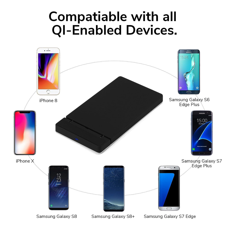 iPhone X Cargador inalámbrico, GMYLE 2 bobinas Qi Carga Inalámbrica Pad soporte plegable rápida para iPhone X/8/8 Plus, Samsung S8/S8 +/S7/S7 Edge/S6 Edge ...