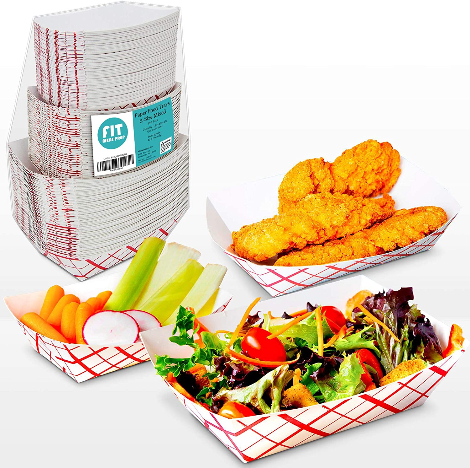 [150 Pack] 1lb, 2lb, 3lb Paper Food Trays - Red White Disposable Grease Resistant Serving Plate, Paperboard Boat Basket for Parties Fairs Picnic Carnival Holds Tacos Nachos Fries Hot Corndog, 50 each