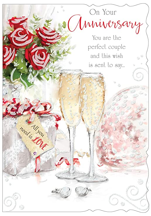 Tarjeta de bodas de oro abierto - champán y rosas del brillo 22,86 ...