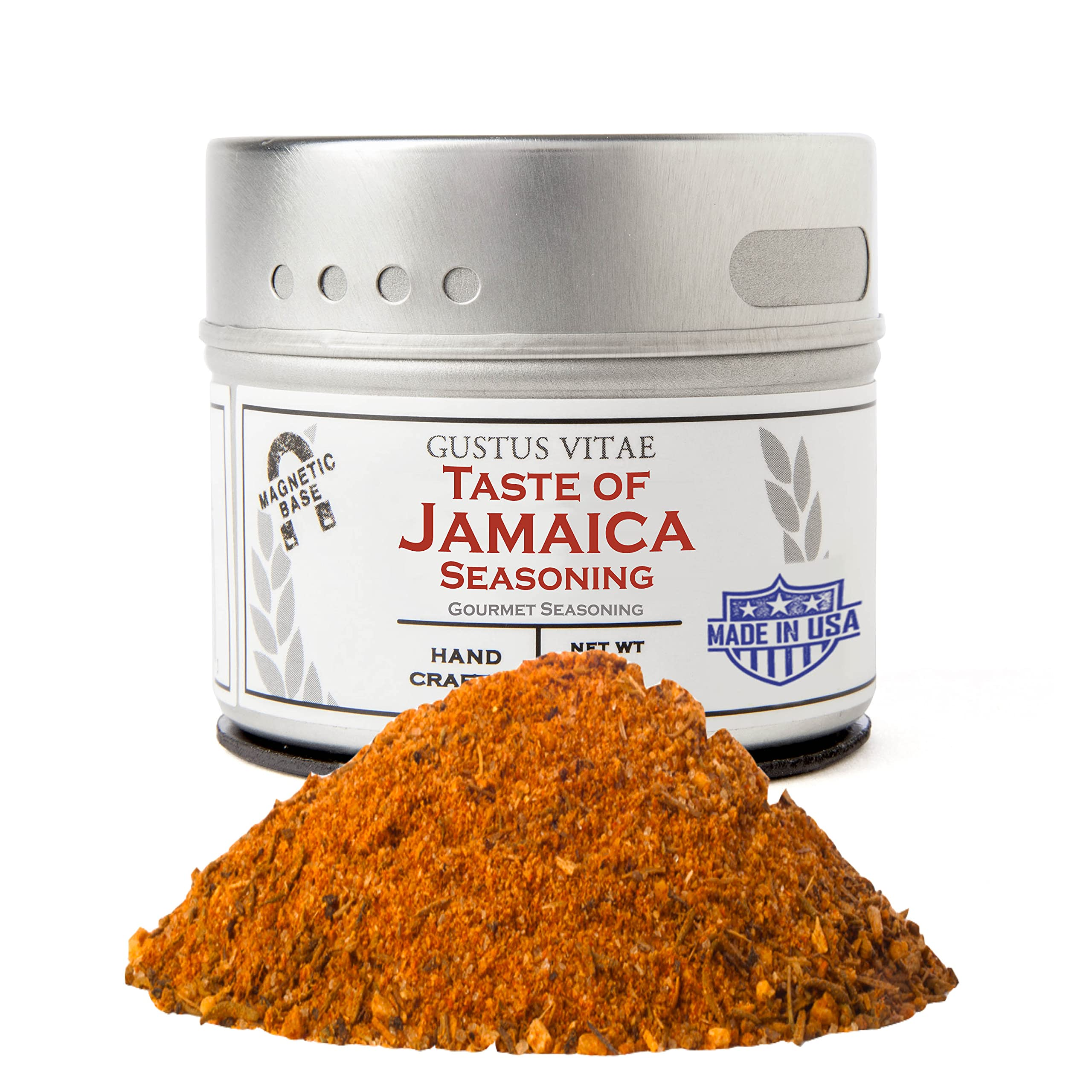 Taste of Jamaica Jerk Seasoning & Spice Blend - Authentic Artisanal Gourmet Blend - Non GMO - Crafted In Small Batches - All Natural - Magnetic Tin - Hand Packed - 1.5 Ounce