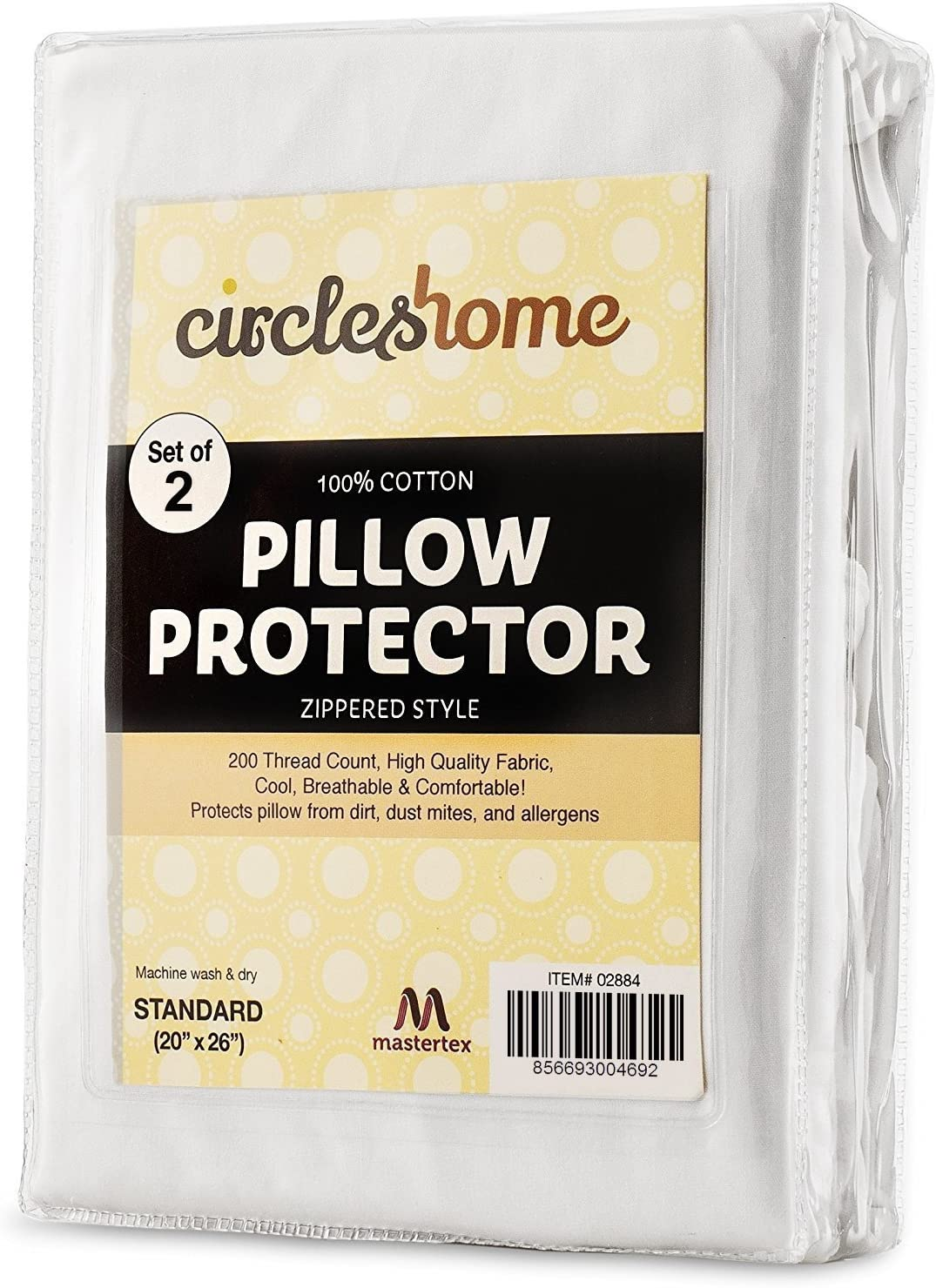 CIRCLESHOME Standard Pillow Protectors 2 Pack   100% Cotton Breathable Pillow Covers   Protects from Dirt, Dust & Allergens   Hypoallergenic & Quiet (Standard - Set of 2-20x26): Home & Kitchen