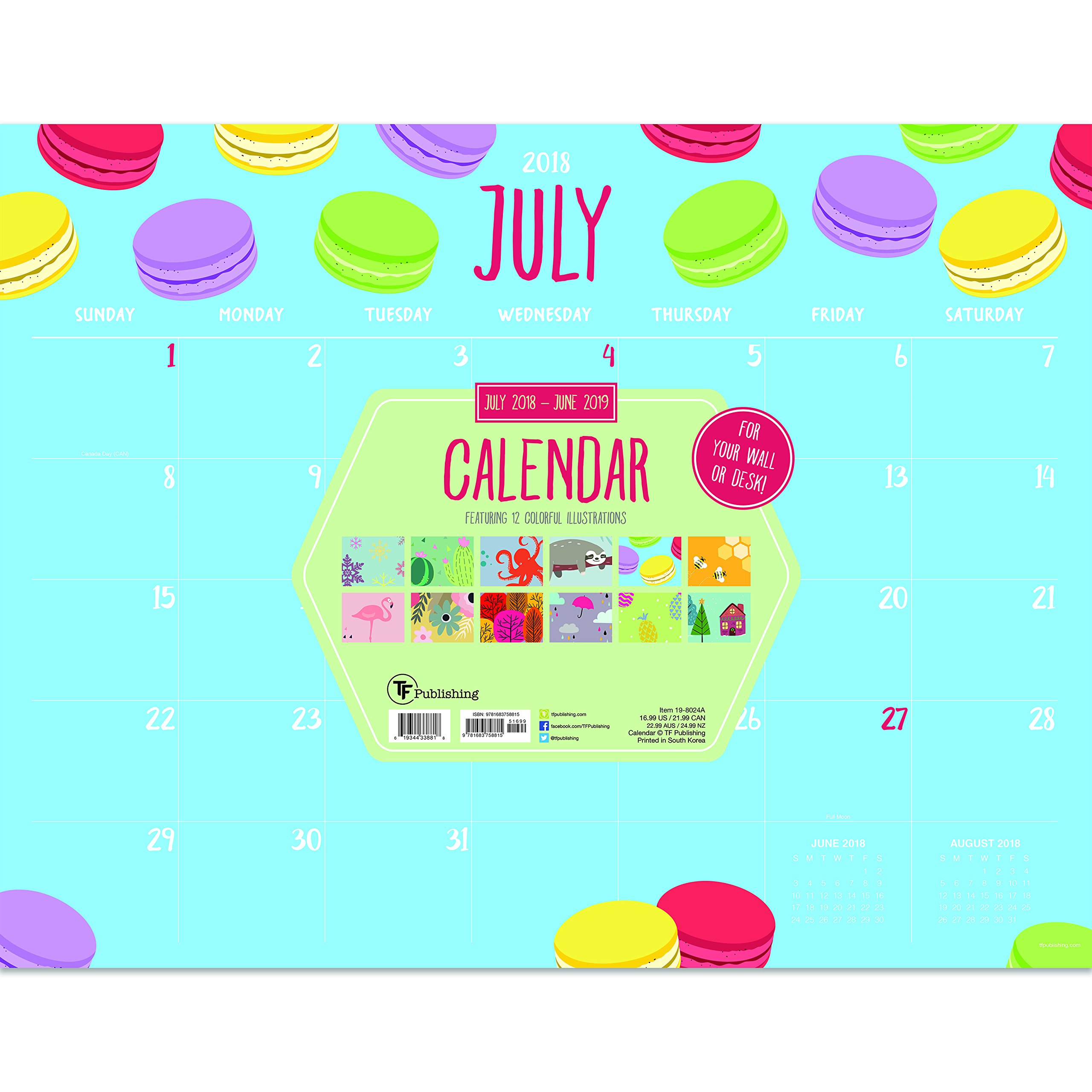 TF Publishing 19-8024A July 2018 - June 2019 Monthly Theme Desk Pad Calendar, 22 x 17'', Multi Colored