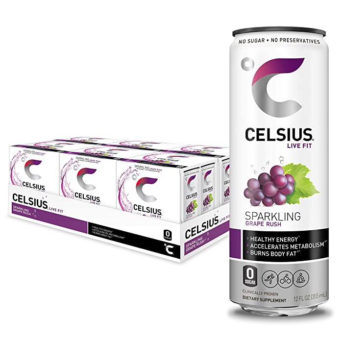 CELSIUS Sparkling Grape Rush Fitness Drink, Zero Sugar, Slim Can 4-Packs, 12 Fl Oz (Pack of 24)