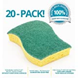 STK 20-Pack Multi-Use Heavy Duty Scrub Sponge-Never Smell Technology Viscose Sponges-100% Biodegradable & Eco Friendly-Kitchen-Bathroom-Car-Individually Wrapped