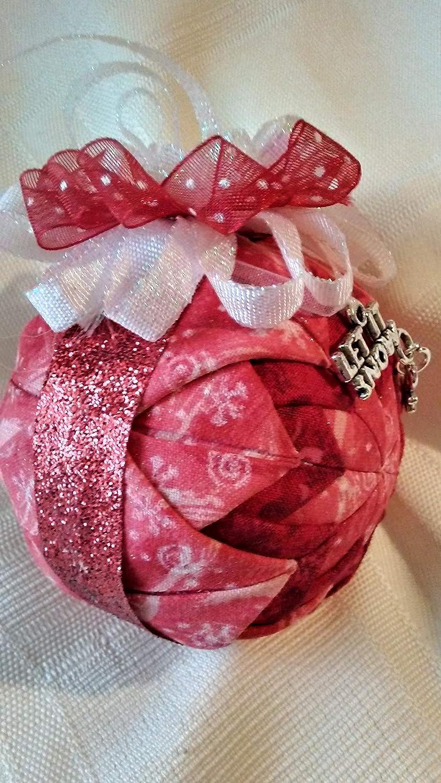 Amazon.com: Snowflakes on red fabric folded star ball Christmas ...