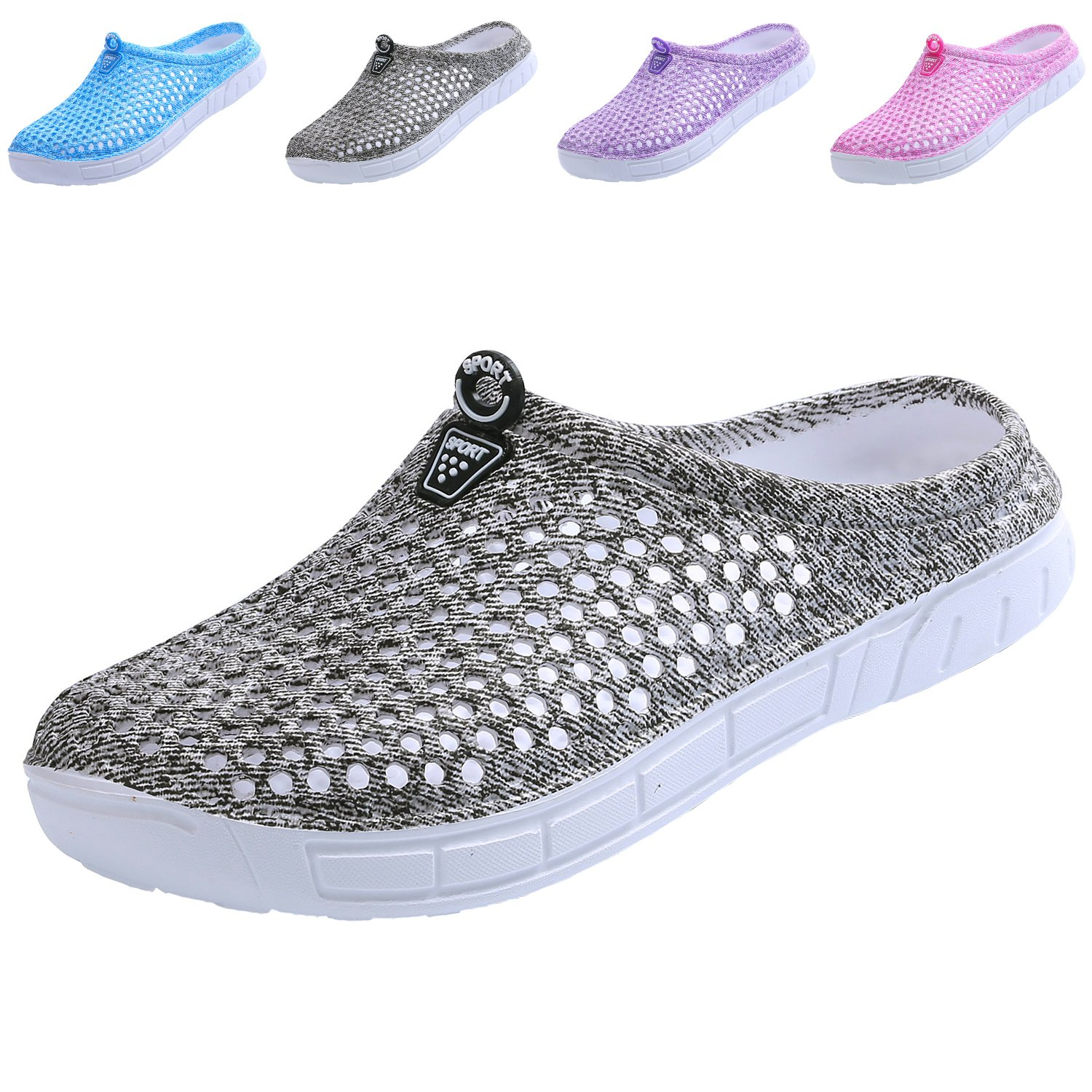 clootess Women Garden Clogs Shoes Slippers Sandals Quick Drying Walking Ladies House Room Indoor Outdoor Shower Sport Home Summer Breathable Light EVA 5.5 B(M) US JD-Grey 36