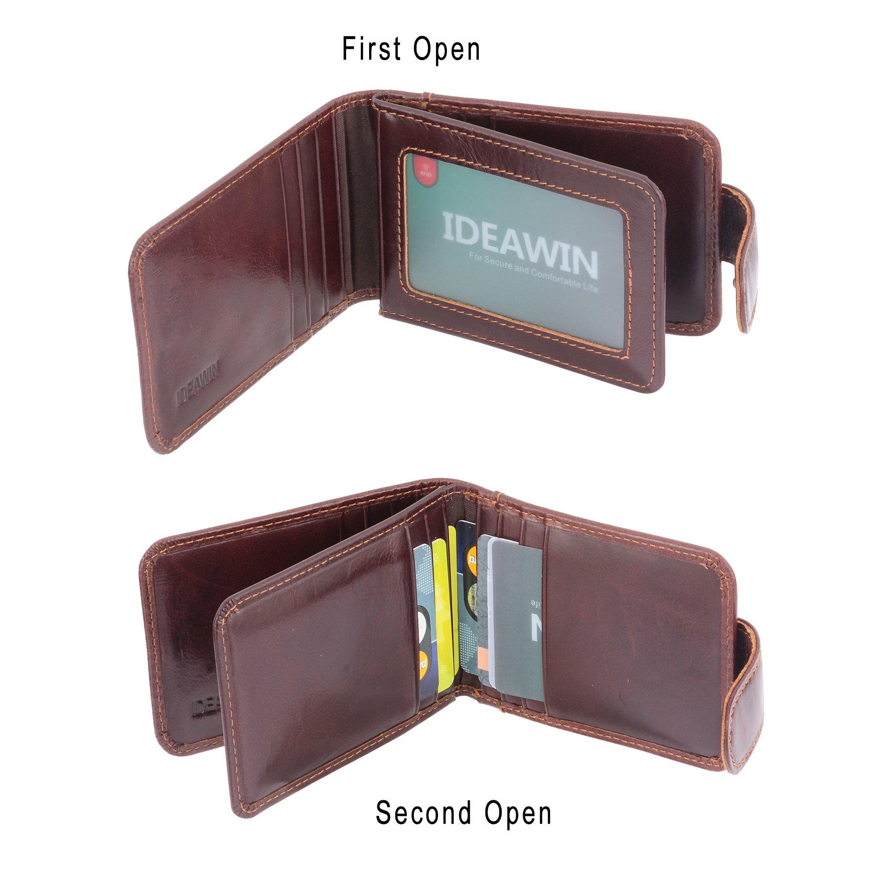IDEAWIN Genuine Leather RFID Blocking Slim Trifold Front Pocket Wallet Card Wallet Card Holder