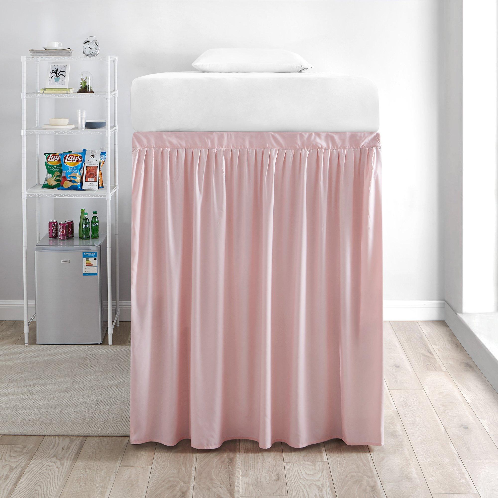 DormCo Extended Bed Skirt Twin XL (3 Panel Set) - Rose Quartz