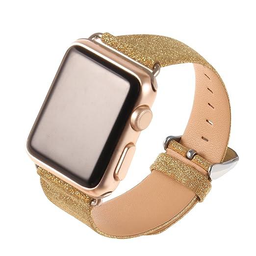 5 opinioni per Cuitan Cinturino per Apple Watch, 38mm Bling Brillantini PU pelle Sostituzione