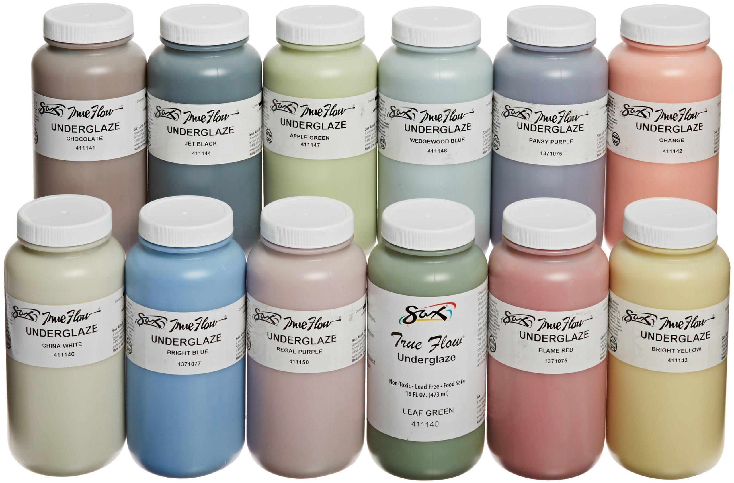 Sax True Flow Underglaze Set, Assorted Colors, Set of 12 Pints - 1371408